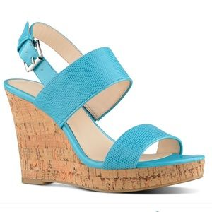 Nine West Turquoise Wedge Sandals
